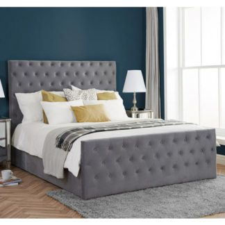 An Image of Marquis Ottoman Fabric King Size Bed In Grey Velvet