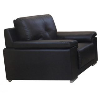 An Image of Ranee Bonded Leather And PU 1 Seater Sofa In Black