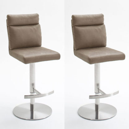 An Image of Rabea Sand Fabric Bar Stool In Pair With Stainless Steel Base