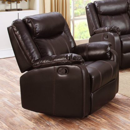 An Image of Leeds LeatherLux And PU Recliner 1 Seater Sofa In Espresso