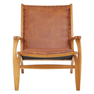 An Image of Formosa Teak Wood Chair With Brown Leather