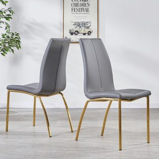 An Image of Opal Dining Chair In Grey Faux Leather With Brushed Gold Base