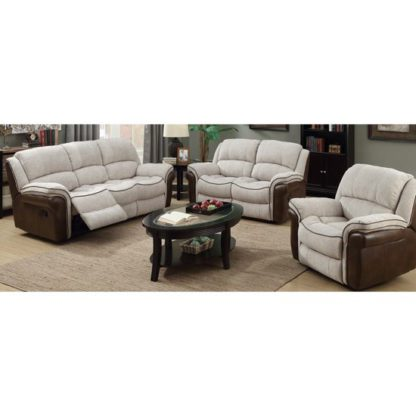 An Image of Lerna Fusion 3 Seater Sofa And 2 Armchairs Suite In Mink
