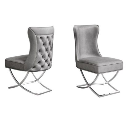 An Image of Maria Silver Grey Velvet Fabric Dining Chairs In Pair