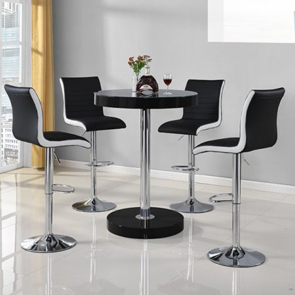 An Image of Havana Bar Table In Black With 4 Ritz Black And White Bar Stools