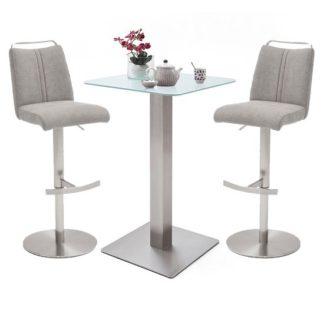 An Image of Soho White Glass Bar Table With 2 Giulia Ice Grey Fabric Stools