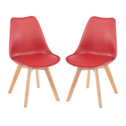 An Image of Arturo Red Bistro Chair In Pair