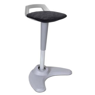 An Image of Spry Fabric Office Stool In Grey Frame And Black Seat
