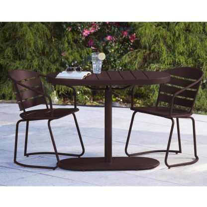 An Image of Intellifit Steel Set Of 3 Bistro Patio Set In Sandy Brown