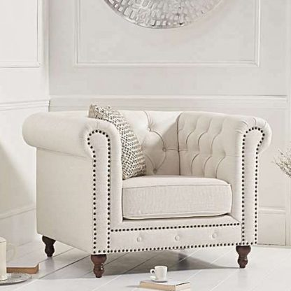 An Image of Propus Linen Lounge Chaise Armchair In Ivory