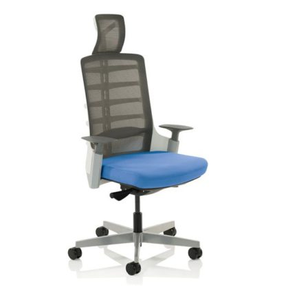 An Image of Exo Charcoal Grey Back Office Chair With Stevia Blue Seat