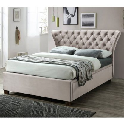 An Image of Georgia Ottoman Fabric Double Bed In Champagne