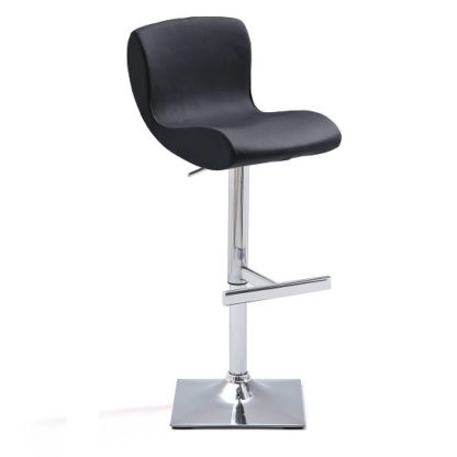 An Image of Fresh Bar Stool In Black Faux Leather With Square Chrome Base
