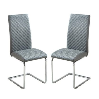 An Image of Ronn Dining Chair In Grey Faux Leather In A Pair