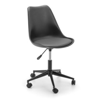 An Image of Erika PU Fabric Office Chair In Black