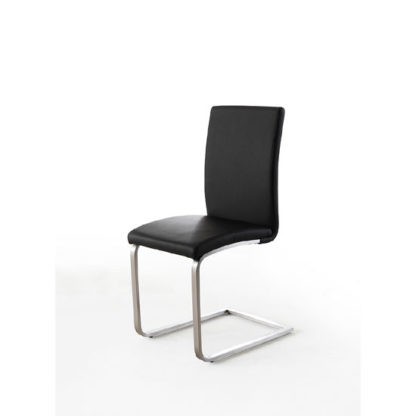 An Image of Pauline Black Faux Leather Dining Chair With Chrome Legs