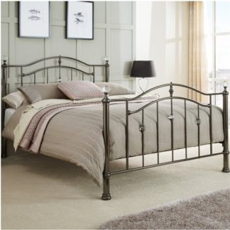 An Image of Ashley Metal Super King Size Bed In Black Nickel
