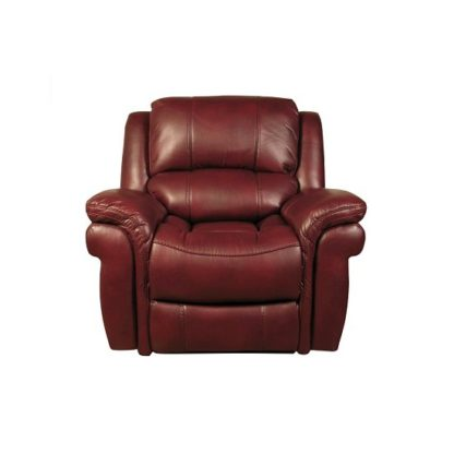 An Image of Claton Recliner Sofa Chair In Burgundy Faux Leather