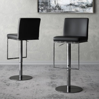 An Image of Enzo Black Faux Leather Gas-lift Bar Stools In Pair