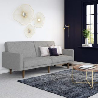 An Image of Paxson Linen Sofa Bed In Light Grey With Wooden Feets