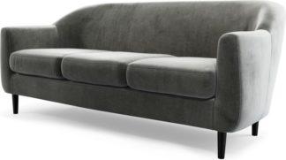 An Image of Custom MADE Tubby 3 Seater Sofa, Steel Grey Velvet with Black Wood Leg
