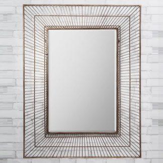 An Image of Bamford Wall Mirror Rectangular In Metal Gold Champagne