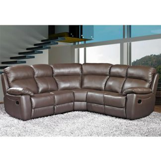 An Image of Aston Leather Corner Recliner Sofa In Brown