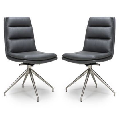 An Image of Nobo Grey Faux Leather Dining Chair In A Pair With Steel Legs