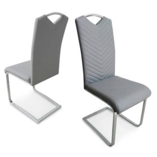 An Image of Marconi Dining Chair In Light Grey Faux Leather In A Pair