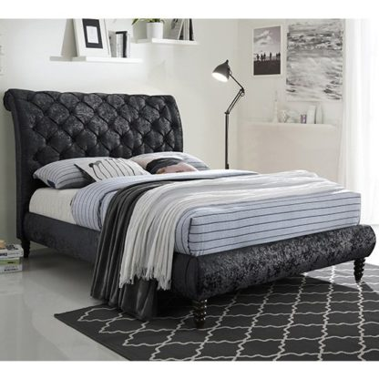 An Image of Venice Velvet Double Bed In Black With Black Wooden Legs