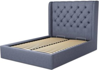 An Image of Custom MADE Romare Double size Bed with Ottoman, Denim Cotton