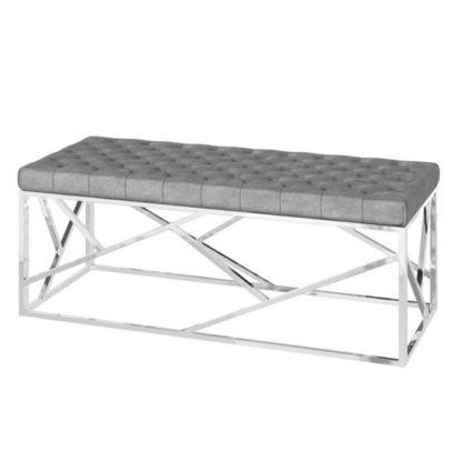 An Image of Kieta Velvet Fabric Upholstered Dining Bench In Silver Grey