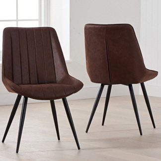 An Image of Nunki Antique Brown Fabric Dining Chair In Pair