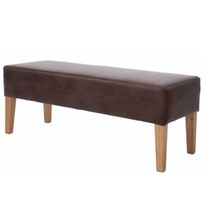 An Image of Evoke Dining Bench In Tan Faux Leather With Wooden Legs