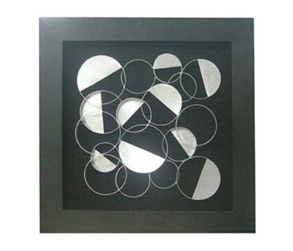 An Image of Framed Silver Discs Wall Art