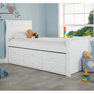 An Image of Jupiter Wooden Cabin Bed In White