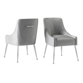 An Image of Claudia Silver Grey Velvet Fabric Dining Chairs In Pair