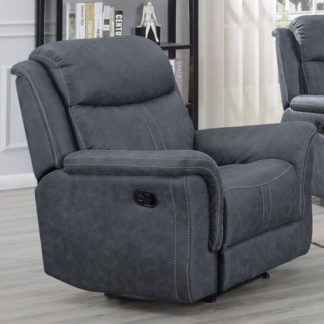 An Image of Proxima Fabric Lounge Chaise Armchair In Slate Grey