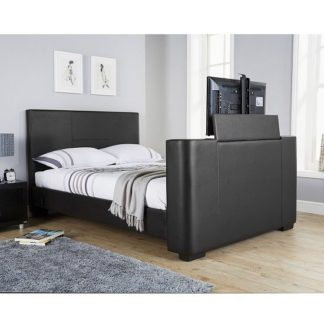 An Image of Knightsbridge Modern Double TV Bed In Black Faux Leather