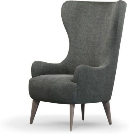 An Image of Custom MADE Bodil Accent Armchair, Smart Grey with Light Wood Leg