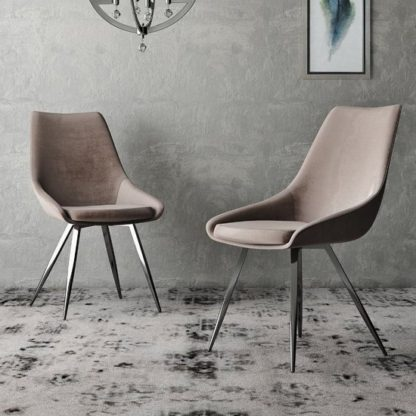 An Image of Lanna Mink Velvet Fabric Dining Chairs In Pair