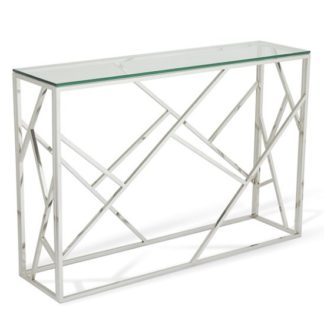 An Image of Betty Glass Console Table With Polished Stainless Steel Base