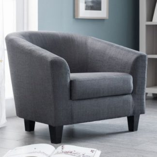 An Image of Hugo Linen Fabric Tub Chair In Slate Grey
