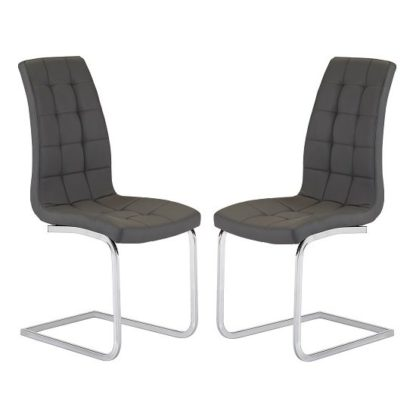 An Image of Torres Dining Chair In Grey Faux Leather in A Pair