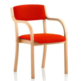 An Image of Charles Office Chair In Pimento And Wooden Frame With Arms