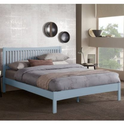 An Image of Mya Hevea Wooden Small Double Bed In Grey
