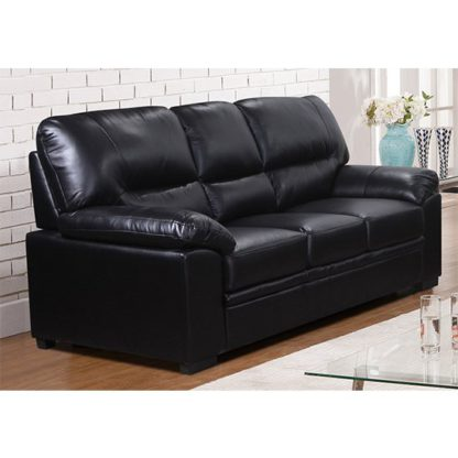 An Image of Rachel LeatherGel And PU 3 Seater Sofa In Black