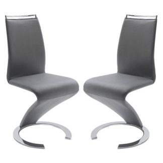An Image of Summer Z Shape Dining Chair In Grey Faux Leather in A Pair