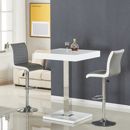 An Image of Topaz Bar Table In White Gloss With 2 Ritz Grey White Stools