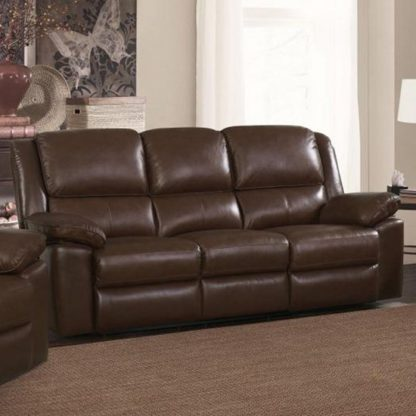 An Image of Toledo Leather And PVC Recliner 3 Seater Sofa In Brown